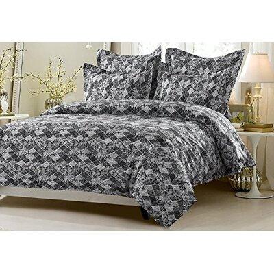 Dakota Floral Diamond Patchwork Reversible Duvet Cover Set Size: King/California King