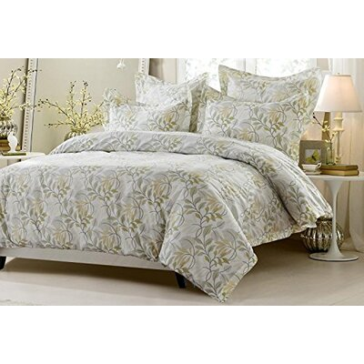 Carline Floral Vine Sage Beige Reversible Duvet Cover Set Size: King/California King