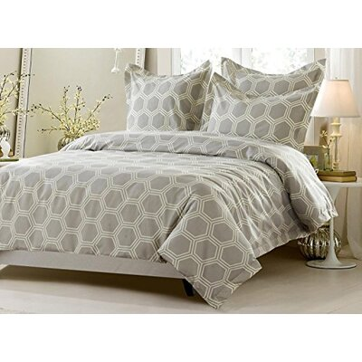 Bryce Hexagon Design Reversible Duvet Cover Set Size: Full/Queen