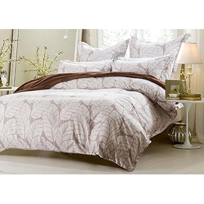Asher Leaf Design Reversible Duvet Cover Set Size: Full/Queen