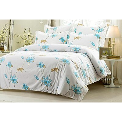 Graham Floral Reversible Duvet Cover Set Size: King/California King