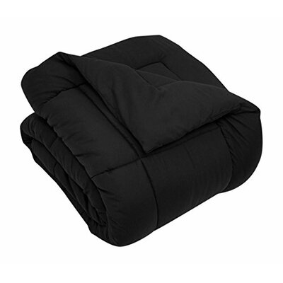 All Season Down Alternative Comforter Size: King, Color: Black