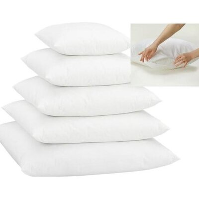 White Super Soft Pillow Insert with Protectors Size: 22 H x 22 W