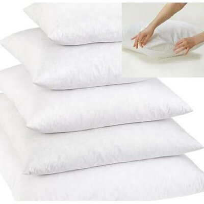 White Super Soft Feather Pillow Insert Size: 9 x 9 x 3