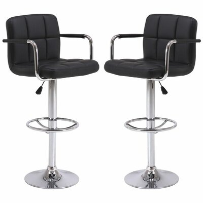 Wolbert Direct Adjustable Height Swivel Barstool Color: Black