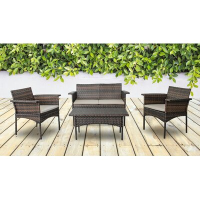 Albia 4 Piece Deep Seating Group with Cushion