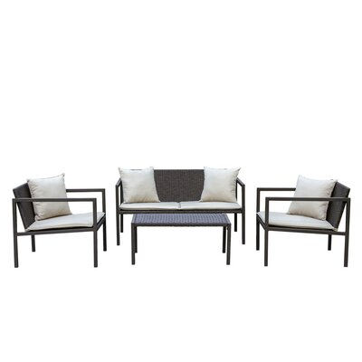 Bourne 4 Piece Deep Seating Group with Cushion