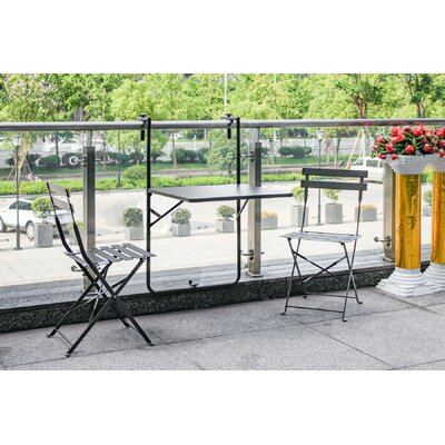 Bales Outdoor 3 Piece Folding Bistro Set Finish: Charcoal