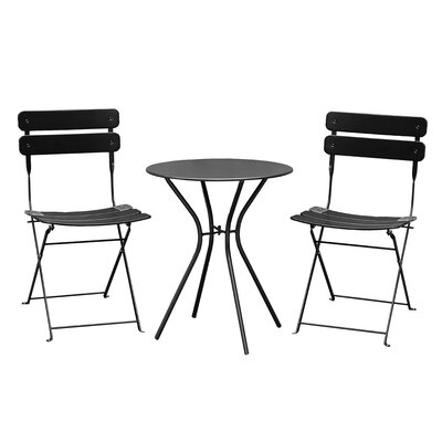 Bales Outdoor 3 Piece Folding Bistro Set Finish: Black