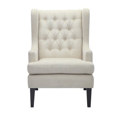 Argenta Button Tufted Wingback Chair Upholstery: Beige