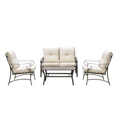 Tony Steel Frame 4 Piece Conversation Set with Cushions