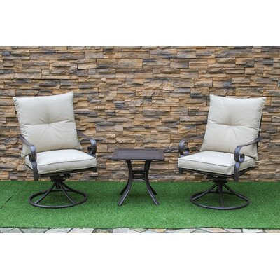 Tony 3 Piece Garden Swivel Rocker Bistro Set with Cushions