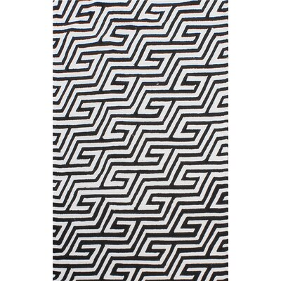 Greenstein Reversible Black/White Outdoor Area Rug Rug Size: 5 x 8
