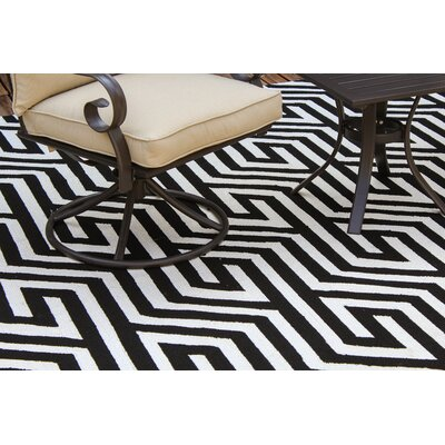 Greenstein Reversible Black/White Outdoor Area Rug Rug Size: 9 x 12