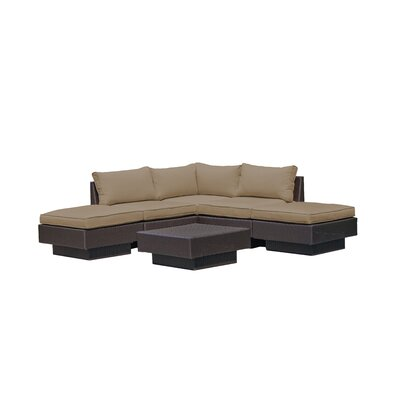 Galina Modern 6 Piece Outdoor Rattan Sectional Set with Cushions Cushion Color: Khaki