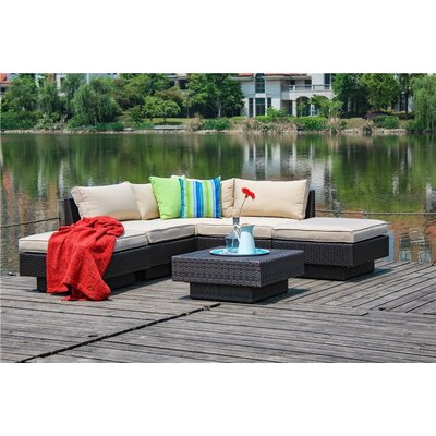 Galina Modern 6 Piece Outdoor Rattan Sectional Set with Cushions Cushion Color: Beige
