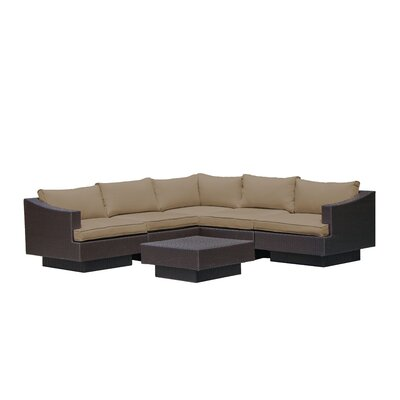 Galina 6 Piece Outdoor Rattan Sectional Set with Cushions Cushion Color: Khaki