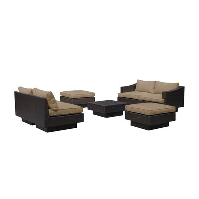 Galina 7 Piece Outdoor Rattan Sectional Set with Cushions Cushion Color: Khaki