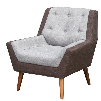 Highgate Mid Century Modern Arm Chair Upholstery: Brown