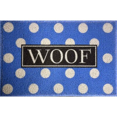 Anastasia Polka Dot Woof Doormat Color: Blue