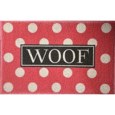 Anastasia Polka Dot Woof Doormat Color: Coral