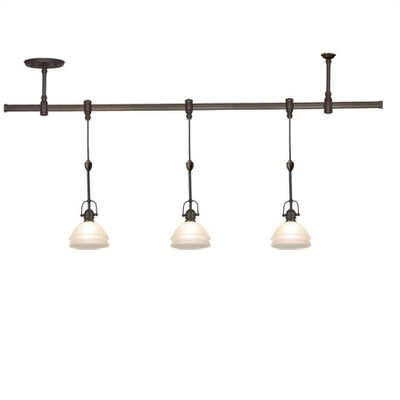 Trenton Track Lighting Pendant Kit in Antique Bronze with Dusted Ivory Shades