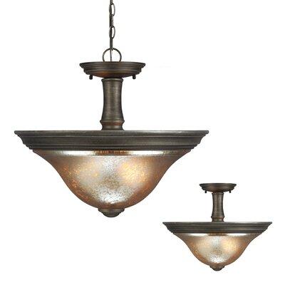 Rathburn 2-Light Bowl Pendant Bulb Type: 60W A19 Medium