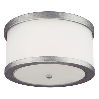 McIntosh 2-Light Flush Mount Bulb Type: 75W A19 Medium, Finish: Weathered Pewter