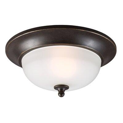 Herzog 1-Light Flush Mount Bulb Type: 60W A19 Medium, Finish: Burled Iron