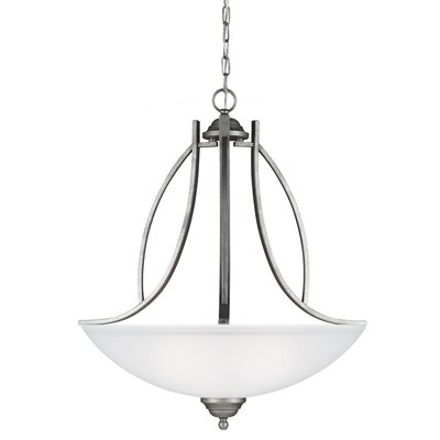 Nob Hill 3-Light Bowl Pendant Finish: Weathered Pewter, Bulb Type: 100W A19 Medium