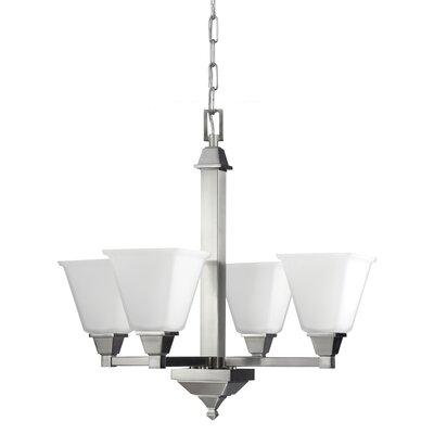 Denhelm 4-Light Mini Chandelier Finish: Brushed Nickel, Bulb Type: 100W A19 Medium