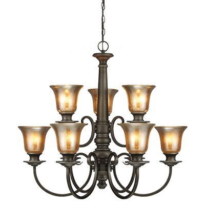 Rathburn 9-Light Shaded Chandelier Bulb Type: 60W A19 Medium
