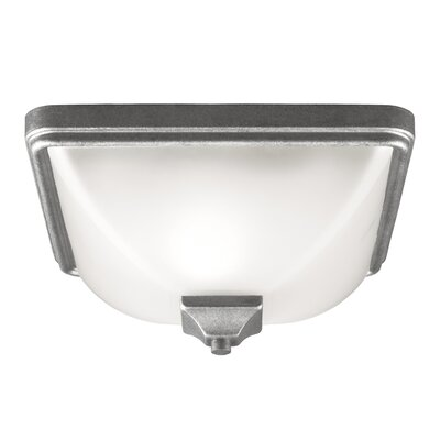Irving Park 1-Light Flush Mount Bulb Type: 60W A19 Medium, Finish: Weathered Pewter