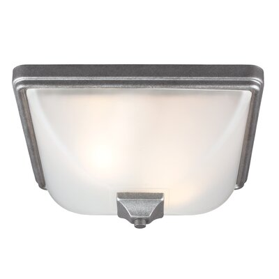 Buckmaster 2-Light Flush Mount Bulb Type: 60W A19 Medium, Finish: Weathered Pewter