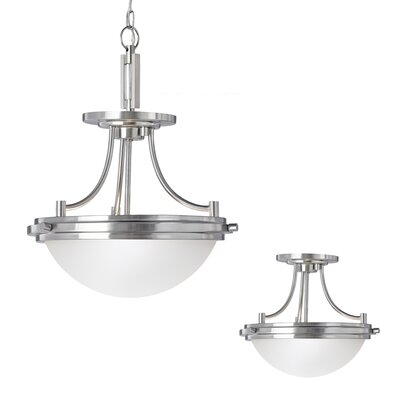 Huntingdon 2-Light Convertible Inverted Pendant Finish: Brushed Nickel, Bulb Type: Incandescent A19 60W