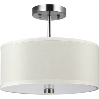 Magaret 2-Light Semi-Flush Mount Finish: Brushed Nickel, Bulb Type: Incandescent A19 100W