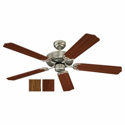 52 Regner 5 Blade Ceiling Fan Finish: Brushed Nickel with Mahogany / Oak Blades