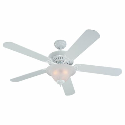 52 Reinhart 5 Blade Ceiling Fan Finish: White with White Blades, Glass Type: White Faux Alabaster Shade
