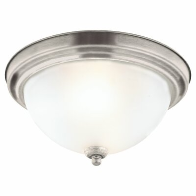 1-Light Ceiling Flush Mount Finish: Brushed Nickel, Size: 6.25 H x 13.25 W x 13.25 D
