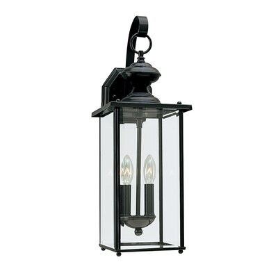2-Light Outdoor Wall lantern Finish: Black