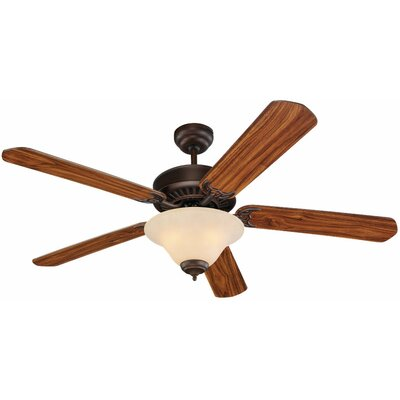 52 Quality Pro Deluxe 5-Blade Ceiling Fan Glass Type: Champagne Scavo