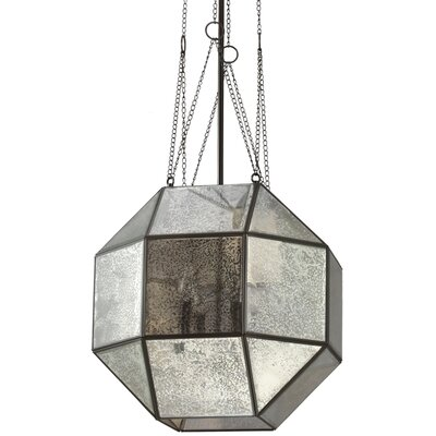 Furrow 4-Light Geometric Pendant Glass Type: Mercury, Size: Large