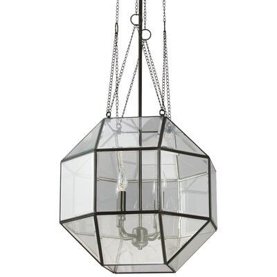 Furrow 4-Light Geometric Pendant Glass Type: Clear, Size: Large