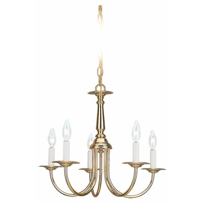 Raven 5-Light Candle-Style Chandelier Finish: Polished Brass