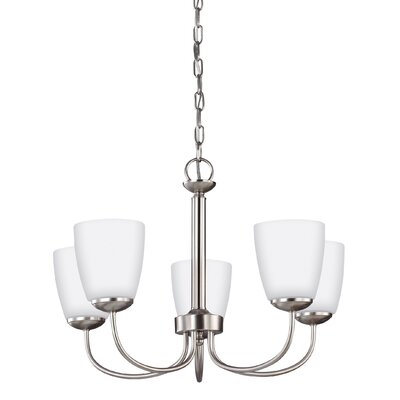 Zolt�n 75782W 5-Light Shaded Chandelier Finish: Brushed Nickel