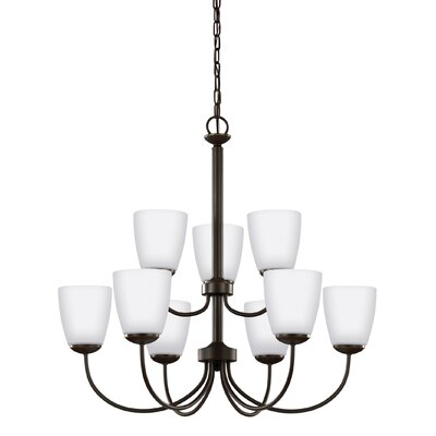Zolt�n 75W 9-Light Shaded Chandelier Finish: Heirloom Bronze