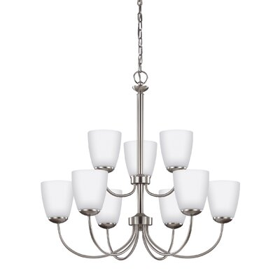 Bannock 75W 9-Light Shaded Chandelier Finish: Brushed Nickel