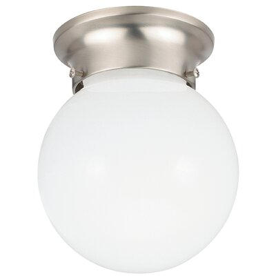 Tomkin 1-Light Flush Mount Base Finish: Brushed Nickel