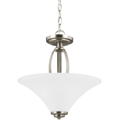 Irvona 2-Light Bowl Pendant Base Finish: Brushed Nickel