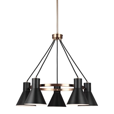 Towner 5-Light Shaded Chandelier Finish: Satin Bronze